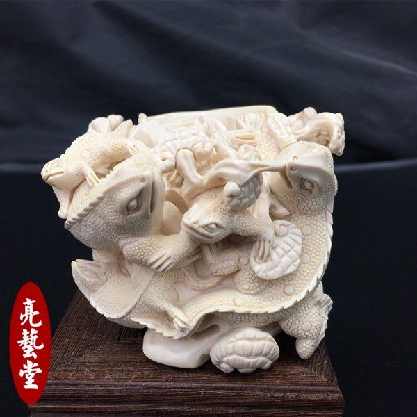 猛犸象牙雕刻蜥蜴摆件雕件