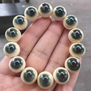 猛犸象牙15mm蓝皮手串1.5蓝眼睛手串