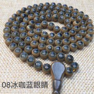 猛犸象牙咖啡蓝眼睛108手串项链