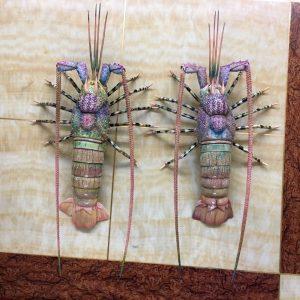 猛犸象牙龙虾摆件猛犸牙彩绘雕刻龙虾雕刻件