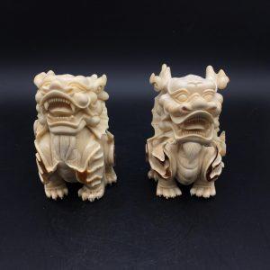 猛犸象牙雕刻招财貔貅摆件一对貔貅