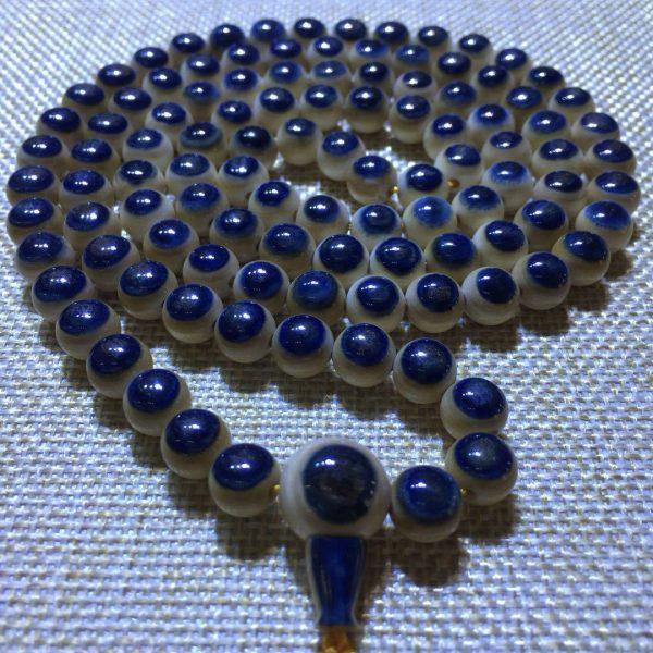 猛犸象牙8mm 108颗极品蓝皮蓝眼睛手串项链