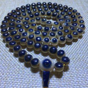 猛犸象牙极品108颗蓝眼睛手串项链8mm