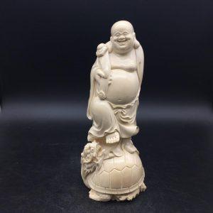 猛犸象牙弥勒佛御龙龟雕刻摆件