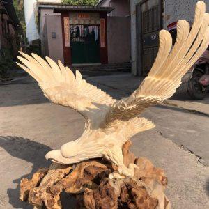 猛犸象牙大展宏图老鹰雕刻件大鹏展翅摆件