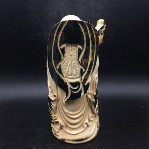 猛犸象牙蓝皮弥勒佛摆件金亮大师雕刻摆件