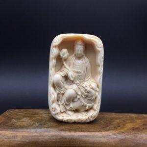 金亮老师猛犸象牙文殊菩萨牌子挂件黄金皮