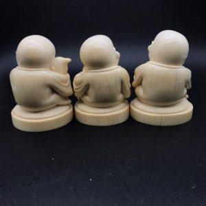 猛犸象牙雕刻童子福禄寿摆件