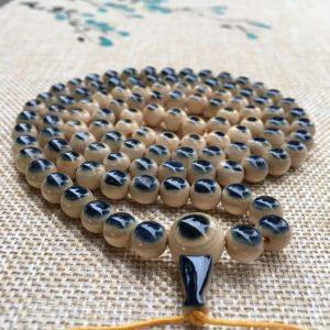 猛犸象牙0.8cm 108颗蓝眼睛手串项链