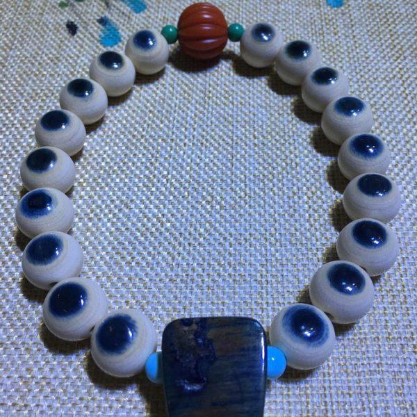猛犸象牙14mm蓝眼睛手持念珠搭配大蓝皮三通