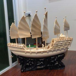 猛犸象牙雕刻帆船手工雕刻猛犸象牙郑和宝船