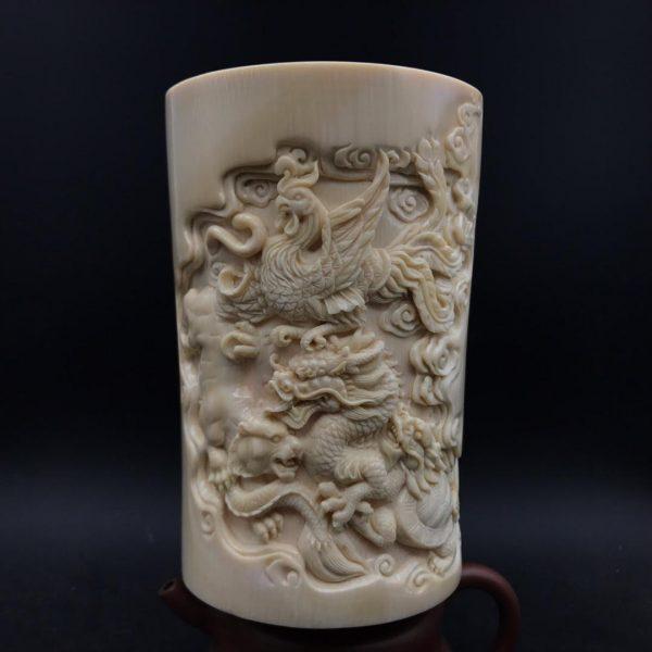 猛犸象牙雕刻龙凤虎龙龟笔筒