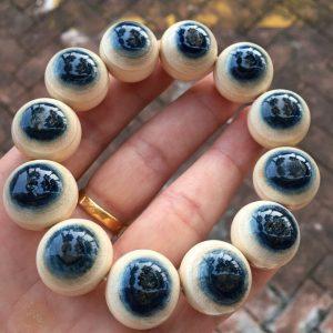 猛犸象牙20mm蓝皮手串天然蓝眼睛