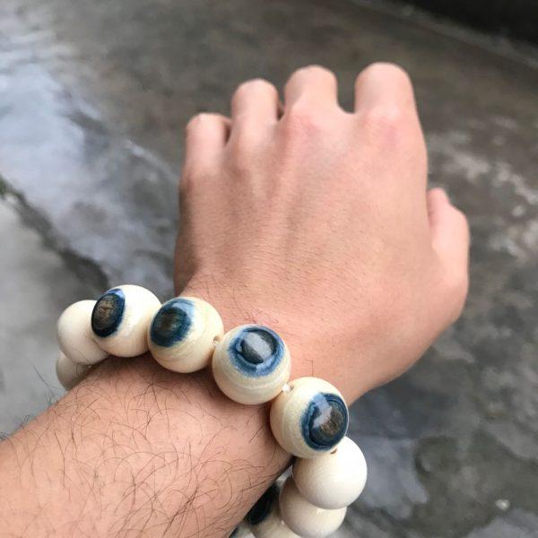 猛犸象牙18mm蓝皮蓝眼睛手串手链