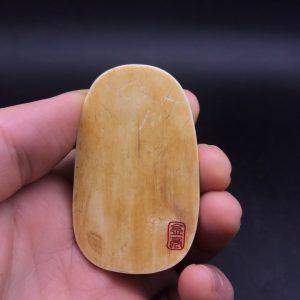 王金亮猛犸象牙弥勒佛挂件黄金皮牌子