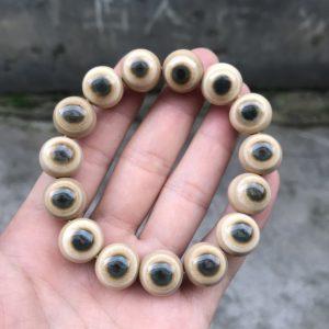 猛犸象牙15mm咖啡蓝眼睛手串
