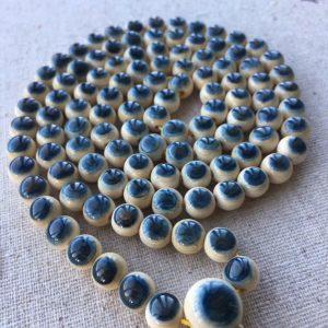 猛犸象牙108天空蓝眼睛手串8mm蓝皮