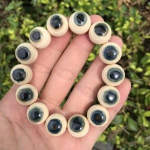 猛犸象牙16mm天空蓝眼睛手串
