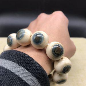 猛犸象牙2.0cm蓝皮手串项链