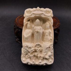 猛犸象牙西方三圣雕刻摆件